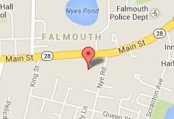 A location map for the Mariner Motel in Falmouth, MA